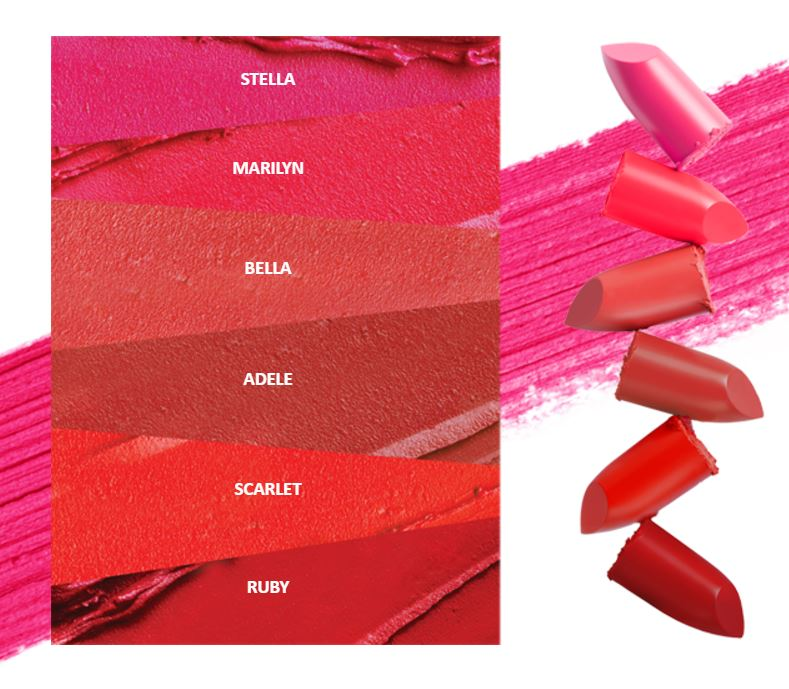 Swatch of lipsticks from Dear Dahlia