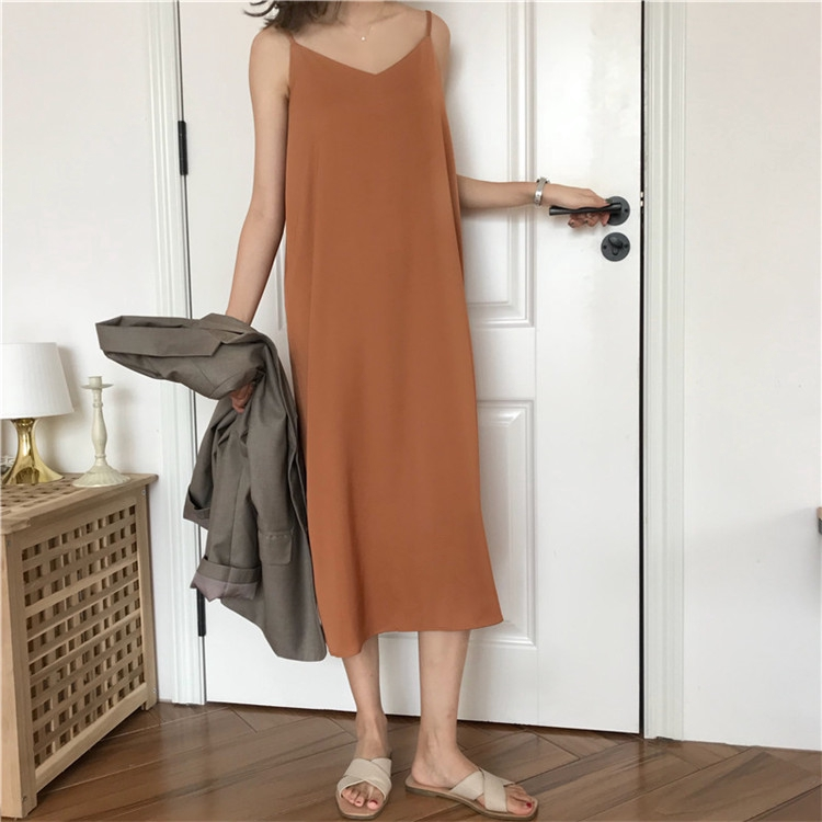 Women Korean Maxi Dress V-Neck Dress