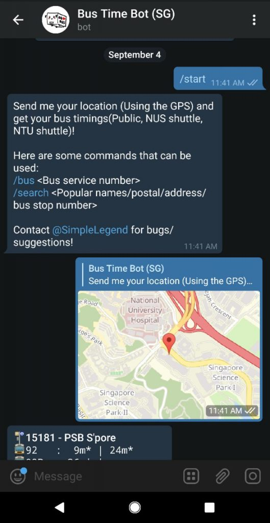 bus time bot telegram channels bots stickers singapore