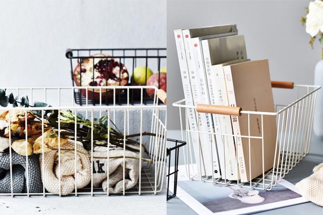 desk organiser iron storage basket handle