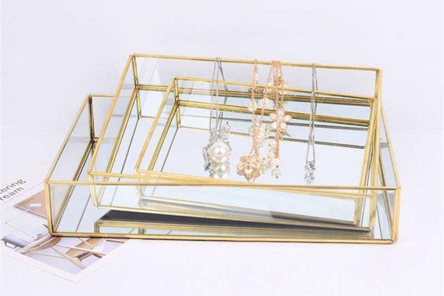 desk organiser jewellery tray clear gold