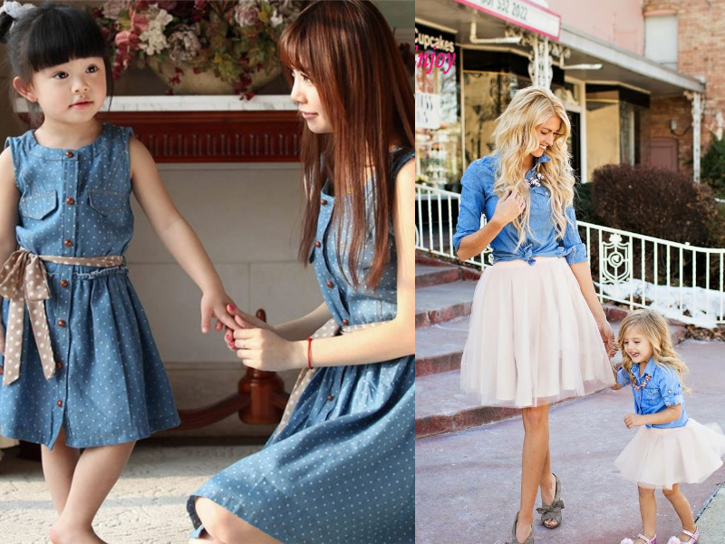 denim mother daughter dress