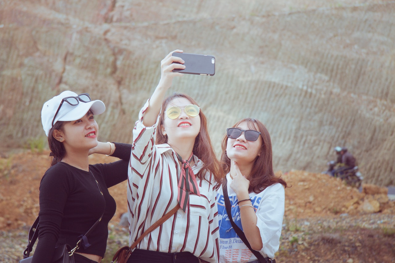 Selfie Girls Tourists Friends