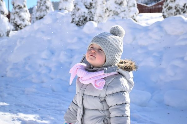 kid in winter clothing travel with kids