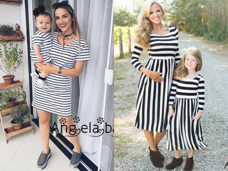 stripe mother daughter dress