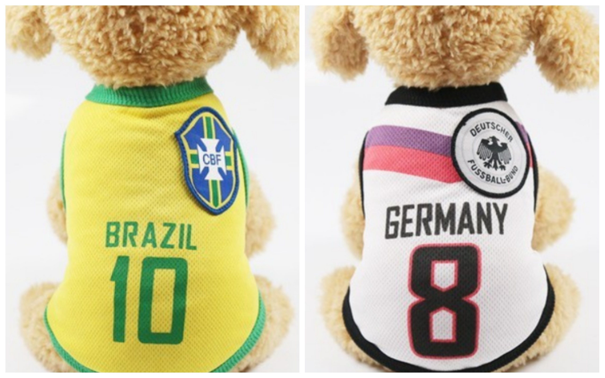 World Cup 2018 Dog Clothing Jerseys Brazil Germany