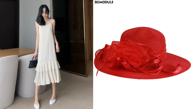 singapore national day ndp red white korean dress women sun hat