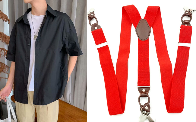 singapore national day red white ndp men vintage shirt suspenders