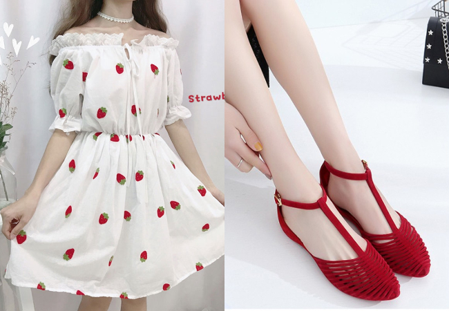 singapore national day ndp red white strawberry dress women sandals