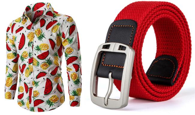 singapore national day red white ndp men fruit shirt belt