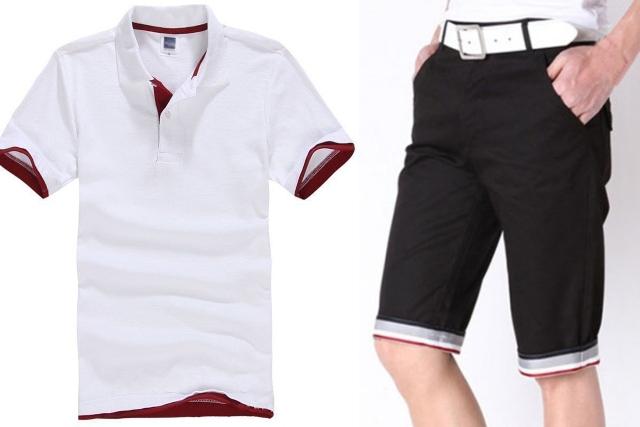 singapore national day ndp red white men polo shirt bermudas shorts