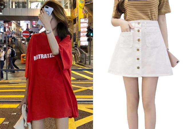 singapore national day red white ndp women oversized shirt denim skirt