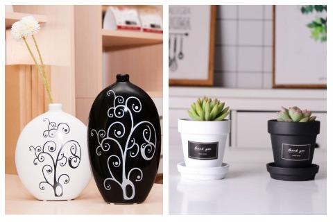 Room Decor Ideas Black and White Flower Vase