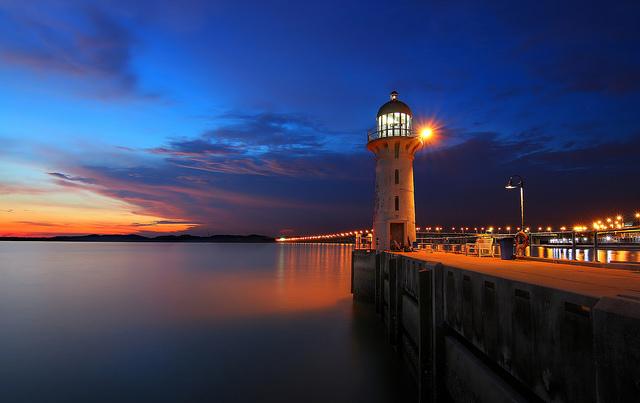 Johor Straits Lighthouse Raffles Marina Sunset Singapore
