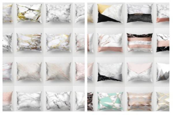 Room Decor Ideas Marble Throw Pillows
