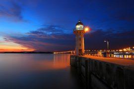Sunset Singapore Johor Straits Lighthouse