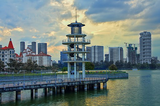 Tanjong Rhu Lookout Tower in Sunset Singapore