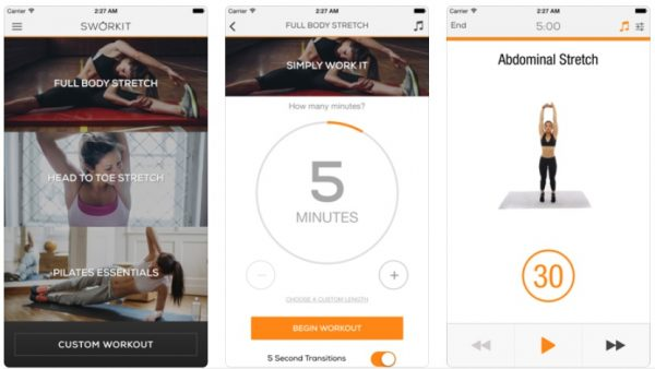 best fitness app stretching sworkit