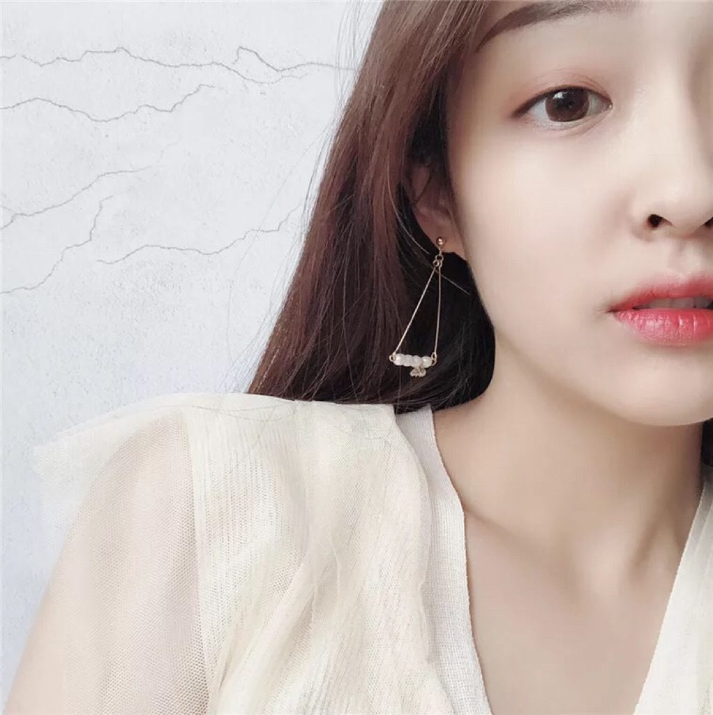 Pearl Triangle Earrings