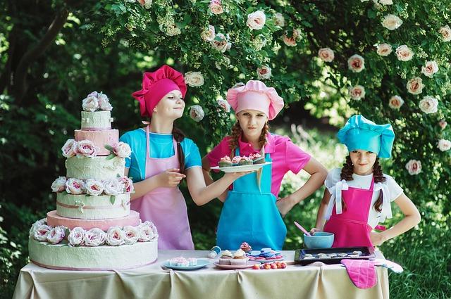 Girls baking cupcakes