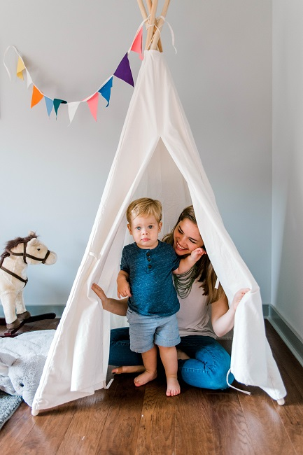 Children camping with tent