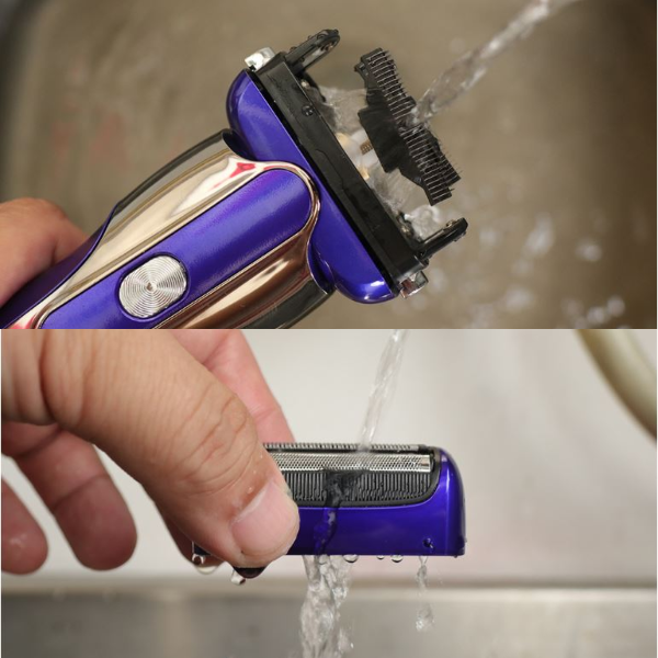 sampo best electric shaver rinsing with water