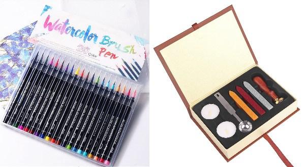 secret santa gift ideas for colleagues creative watercolour brush pen wax seal stamp kit art