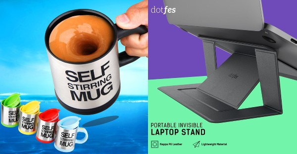 secret santa gift ideas for colleagues new hire self stirring mug laptop stand