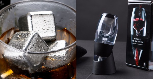 secret santa gift ideas for colleagues drinker alcohol whisky ice cube stainless steel wine aerator set