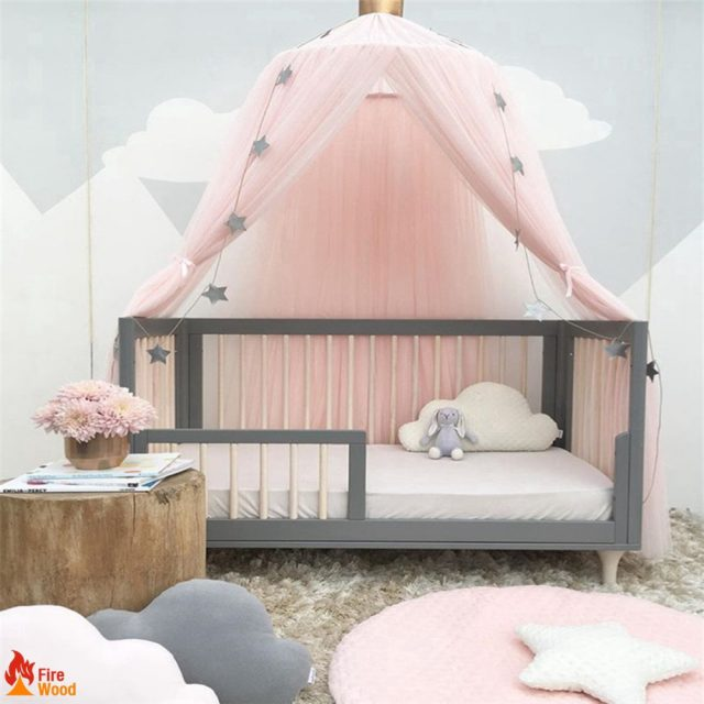 princess pink baby room design lace drape