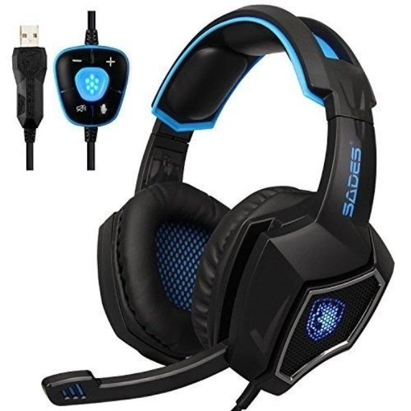 best valentine's day gifts for her singapore SADES USB Gaming Headset With Mic blue black