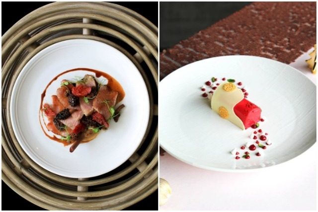 best rooftop restaurants singapore aura iberico pork chop strawberry logcake fine dining pastries