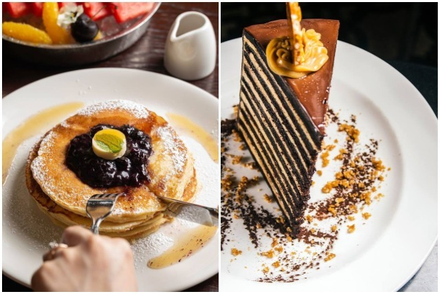 best rooftop restaurants singapore blueberry pancake chocolate peanut butter cake pastry breakfast tea