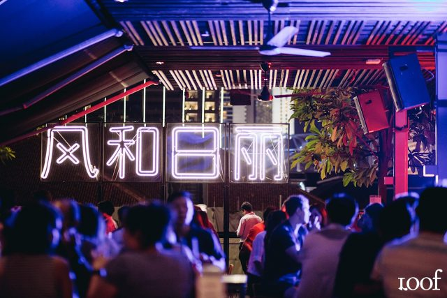 best rooftop restaurants singapore loof neon lights decoration