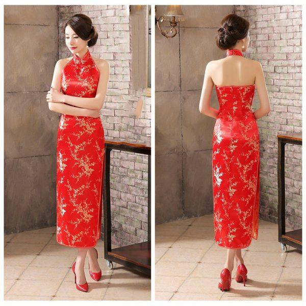 modern cheongsam singapore backless halter long qipao red