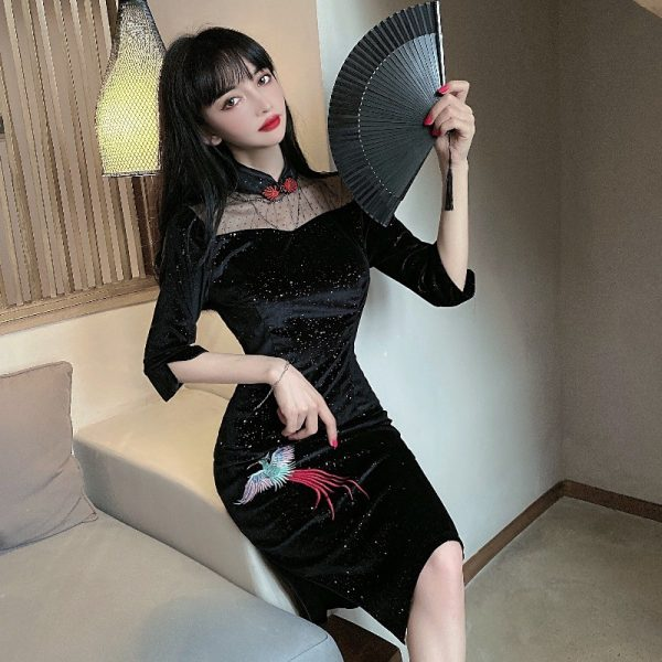 modern cheongsam singapore see through velvet black midi qipao