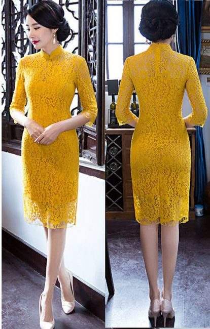 mustard lace cheongsam singapore chinese new year
