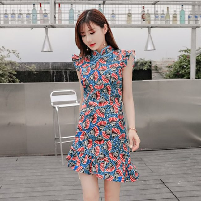 contemporary korean bold prints cheongsam singapore chinese new year
