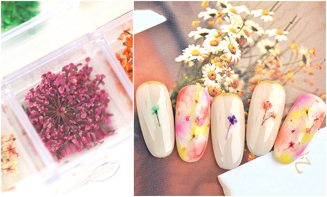 dried flowers nail art design singapore
