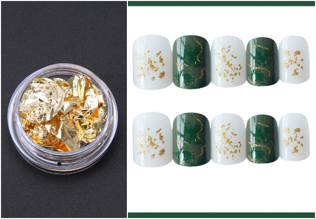 gold foil nail art design singapore