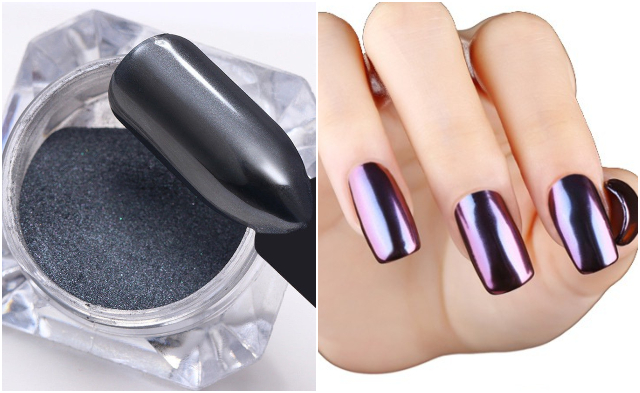 chrome nail art design singapore powder mirror holographic