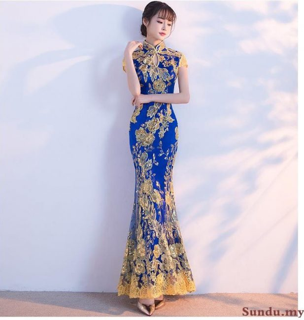 royal blue gold embroidery maxi cheongsam singapore chinese new year