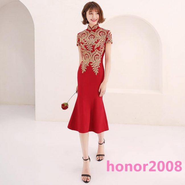 luxurious red mermaid cheongsam singapore chinese new year
