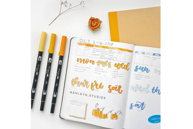 bullet journal ideas calligraphy pen tools