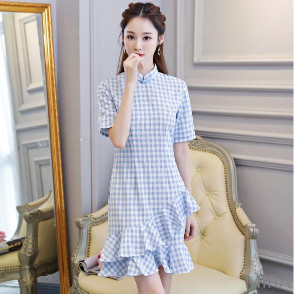 baby blue checkered ruffled cheongsam singapore chinese new year