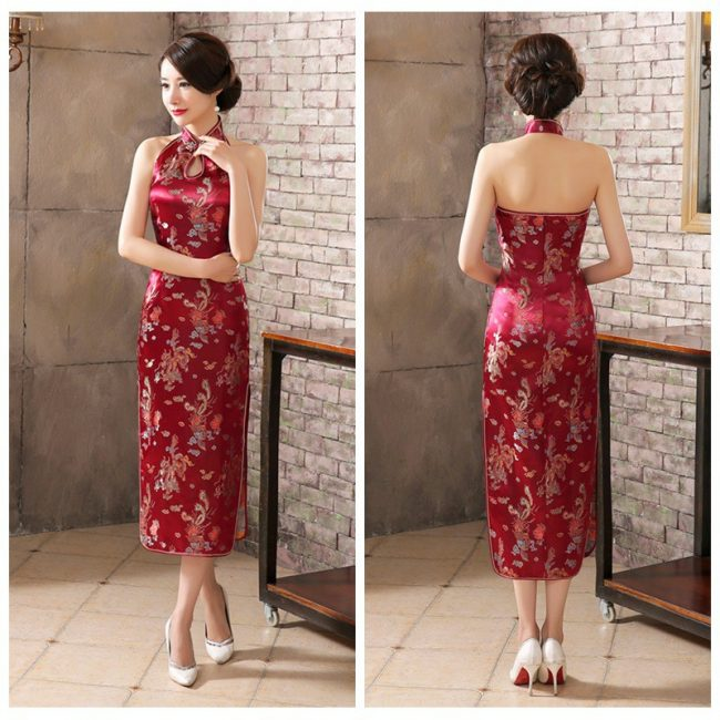 backless long cheongsam singapore deep red chinese new year