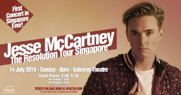 jesse mccartney upcoming concerts in singapore in 2019