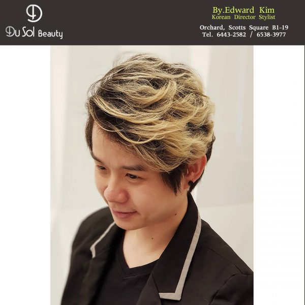 dusol beauty singapore korean hair salon blonde male perms