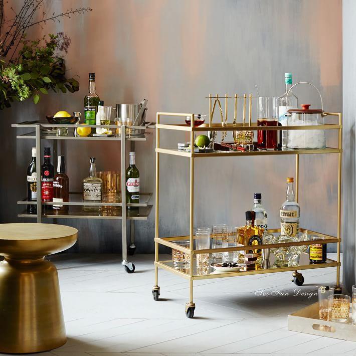 bar counter design bar cart gold