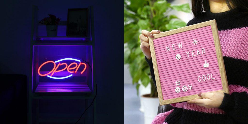 neon wall light and memo board bar counter design